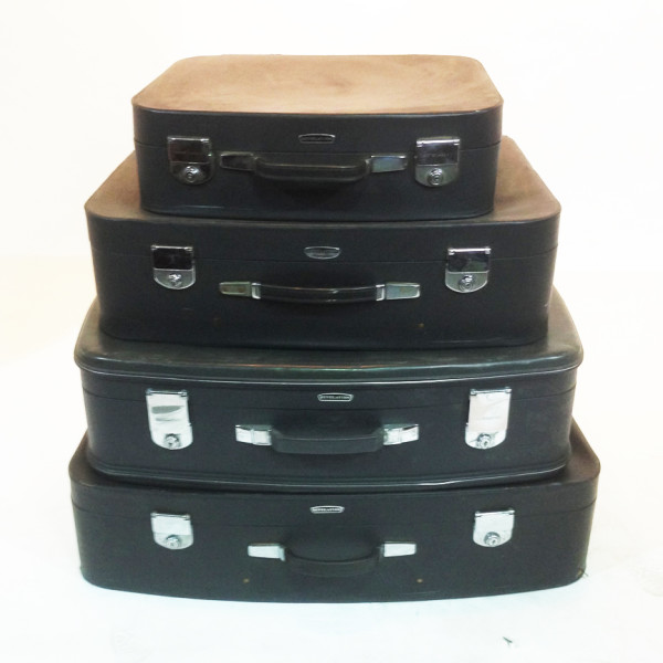 3: Stack of Matching Black Soft Leather Suitcases