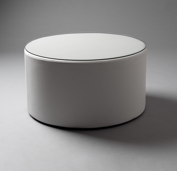 2: White Round Pouf Table