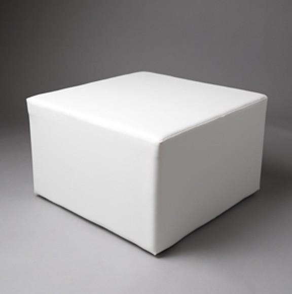 2: Large White Square Pouf