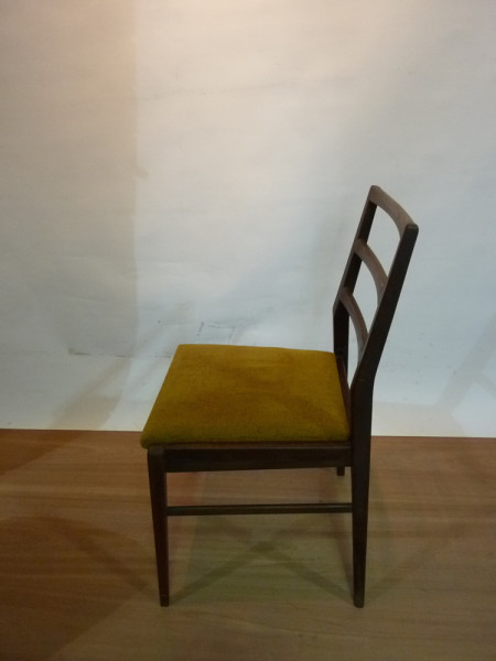 5: Wooden and Mustard Fabric Vintage Chair