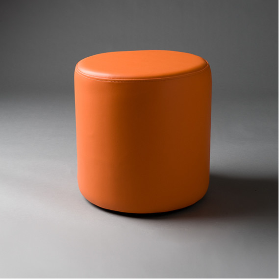 2: Small Orange Round Pouf