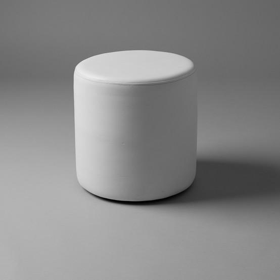 3: Small White Round Pouf