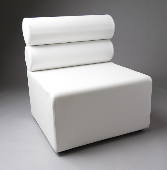 3: White Double Bolster 1 Meter Length Modular Sofa