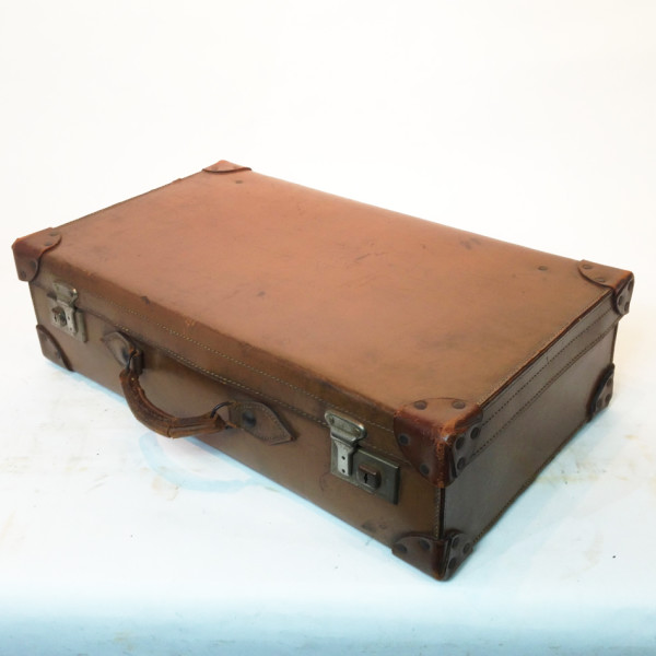 2: Light Brown Leather Suitcase