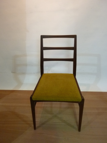 2: Wooden and Mustard Fabric Vintage Chair