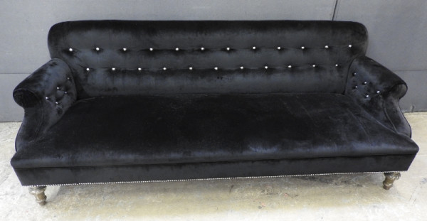 1: Black velvet 3 seater sofa
