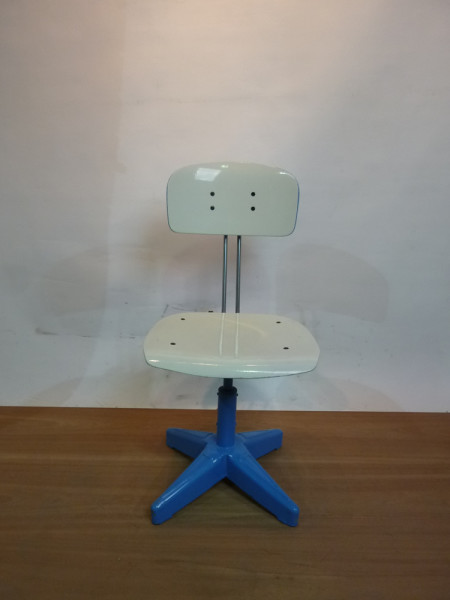 4: Blue and White Industrial Chair