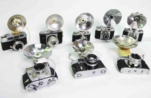 1: Retro SLR Cameras with Flash Units