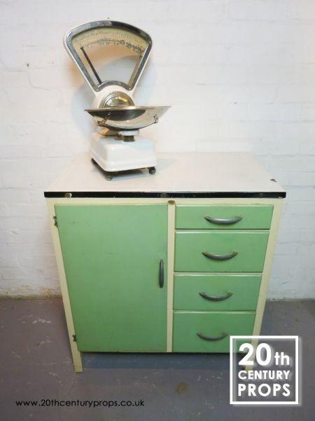 1: 1950's Kitchen storage unit with enamel worktop