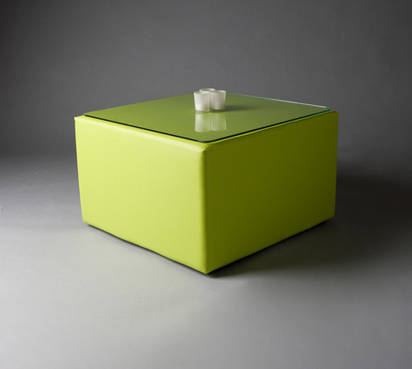 2: Green Pouf Square Table
