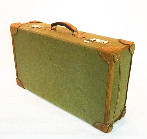 3: Pale Green Canvas with leather Trim Vintage Suitcase