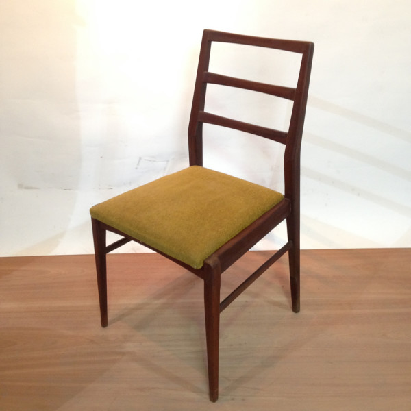 1: Wooden and Mustard Fabric Vintage Chair