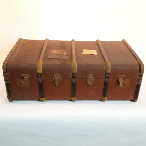 4: Long Brown Vintage Travel Trunk
