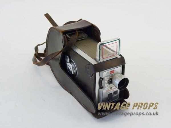1: Vintage movie camera in leather case