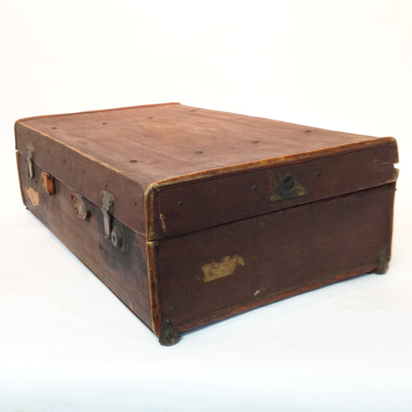 3: Dark Brown Stained Leather Vintage Suitcase 2