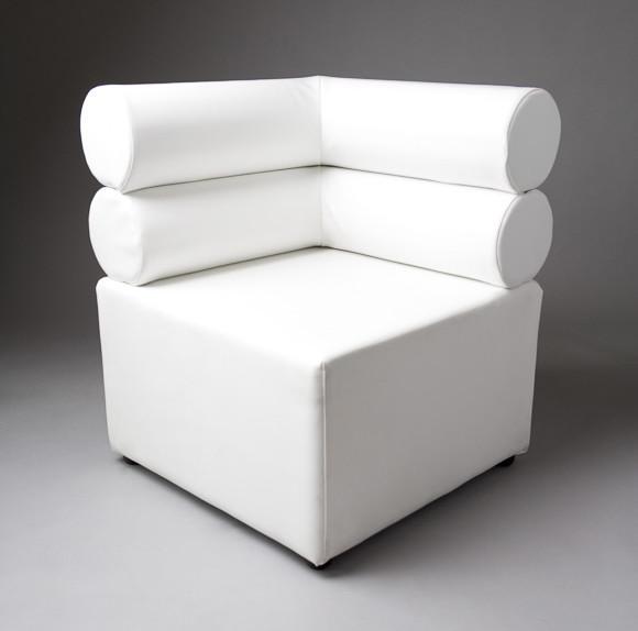 3: White Double Bolster Corner Modular Sofa