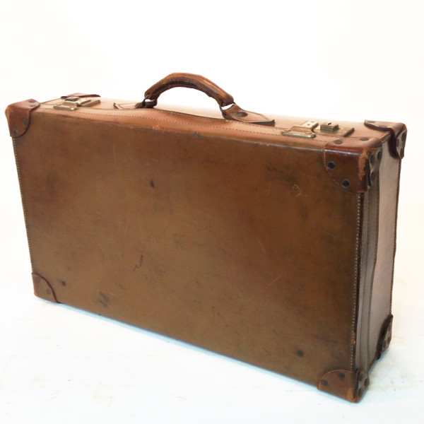 4: Light Brown Leather Suitcase