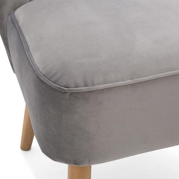 5: Velvet Cocktail Chair, Grey