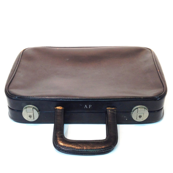 1: Thin Black Soft Leather Suitcase