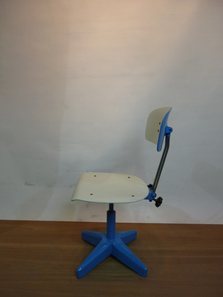 2: Blue and White Industrial Chair