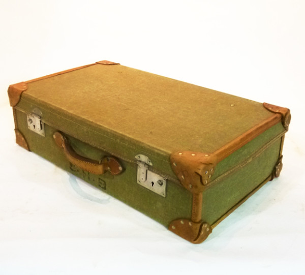 2: Pale Green Canvas with leather Trim Vintage Suitcase