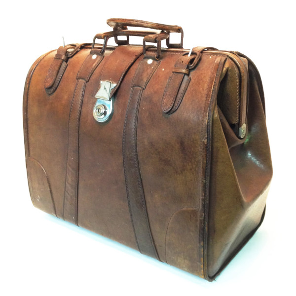 4: Brown Leather Doctors Open Top Case