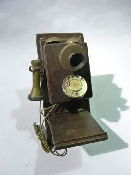 2: Vintage wooden & brass telephone