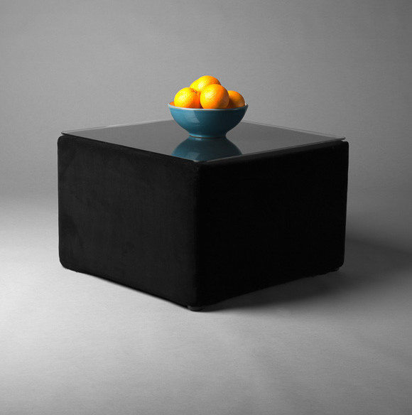 2: Black Velvet Square Pouf Table