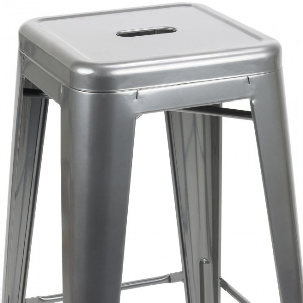 4: Grey Tall Tolix Stool