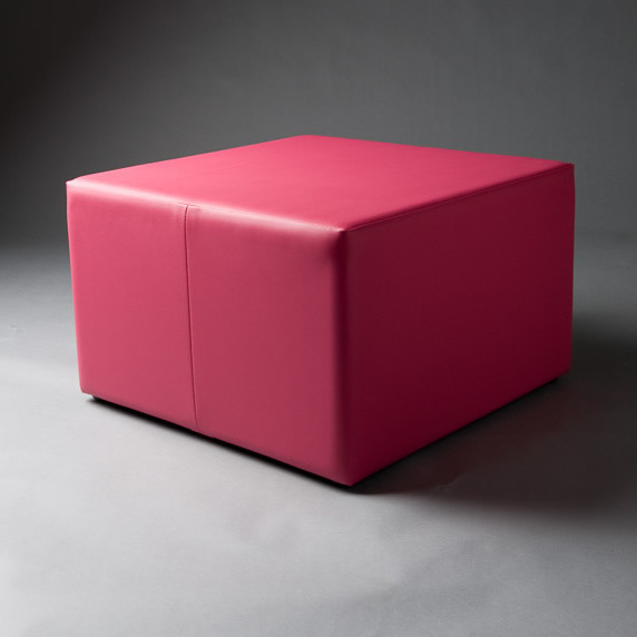 2: Large Pink Square Pouf