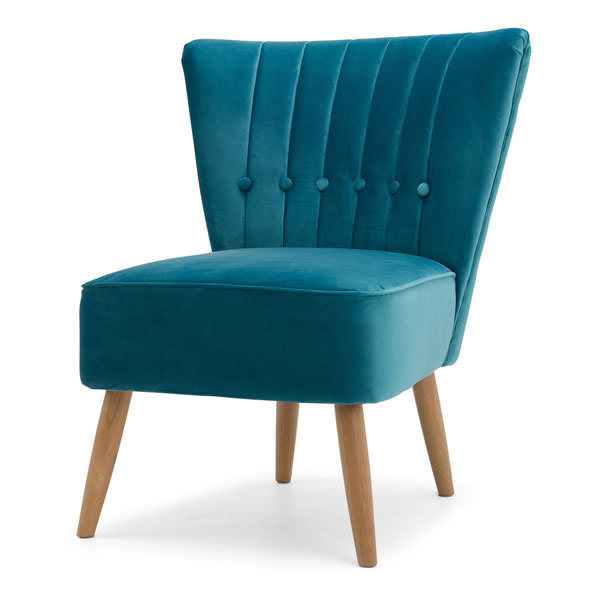 2: Velvet Cocktail Chair - Teal