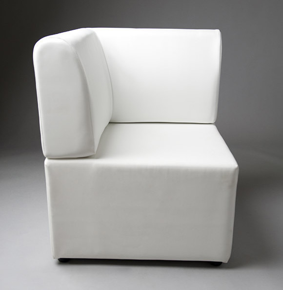 4: White Straight Back Corner Modular Seat