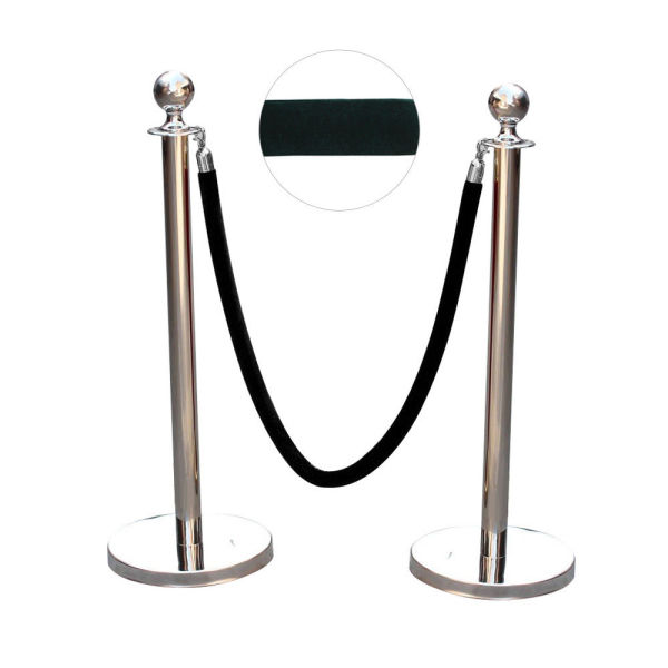 1: stanchion posts with black velvet rope
