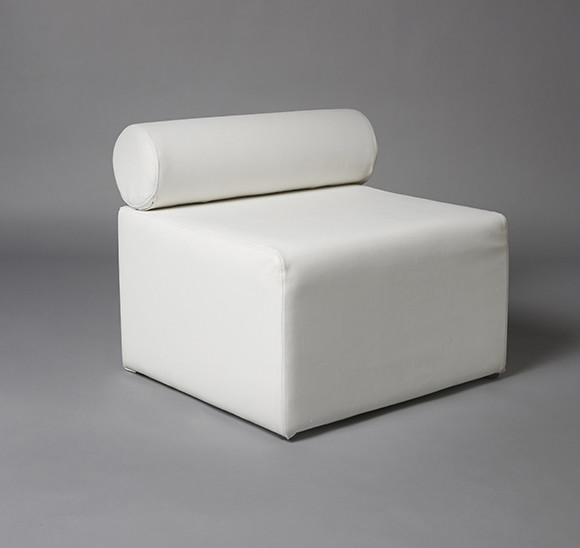 2: White Single Bolster 70cm Length Modular Sofa