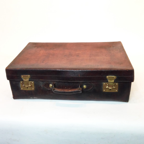 1: Dark Brown Stained Leather Vintage Suitcase