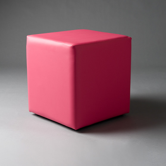 2: Small Pink Square Pouf