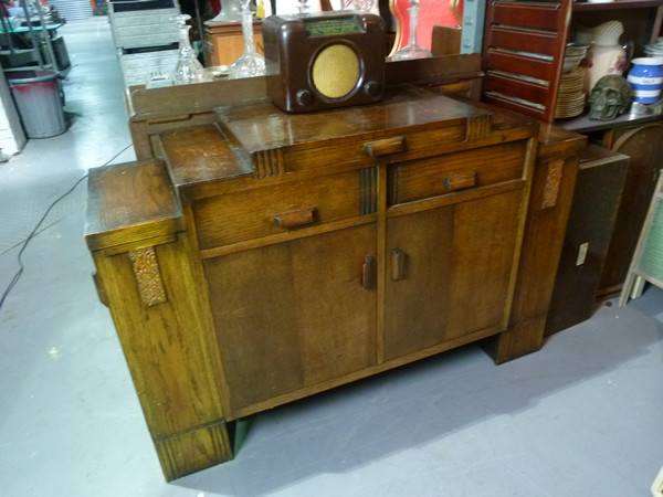 1: Art Deco oak sideboard / bar