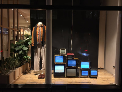 Window display featuring our working vintage TV's