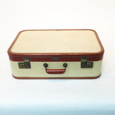 White with Red Trim Medium Suitcase
