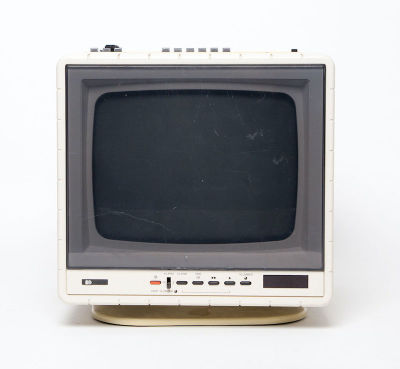 Fully working black & white mini portable Pye TubeCube TV with radio/tape deck