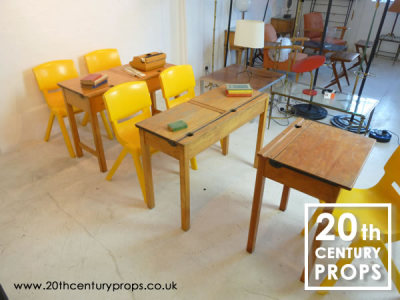 School wooden desks and chairs