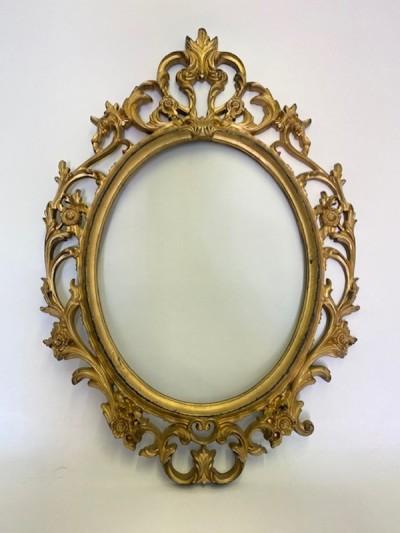 Gold decorative oval frame (no glass)