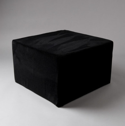 Large Black Velvet Square Pouf