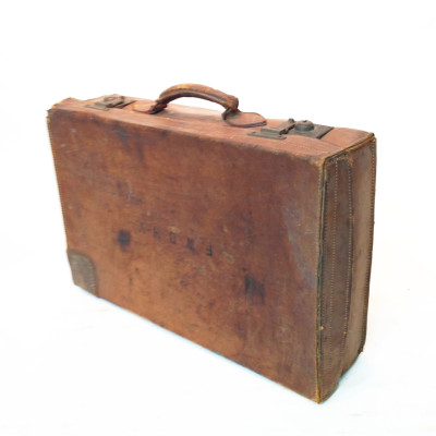 Brown Leather Vintage Suitcase with Initials