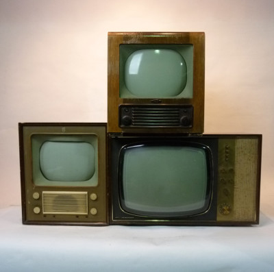 Stack of Vintage Televisions