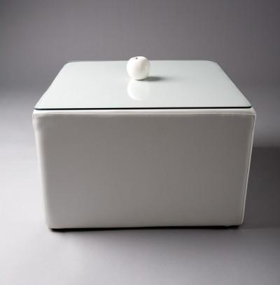 White Square Pouf Table