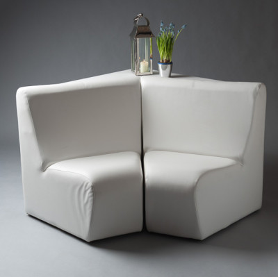 White Sofa Corner Modular Chair