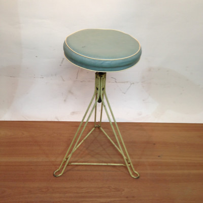 Metal Frame with Leather Seat Stool