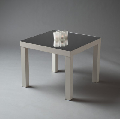 White Squared Mirror Top Table