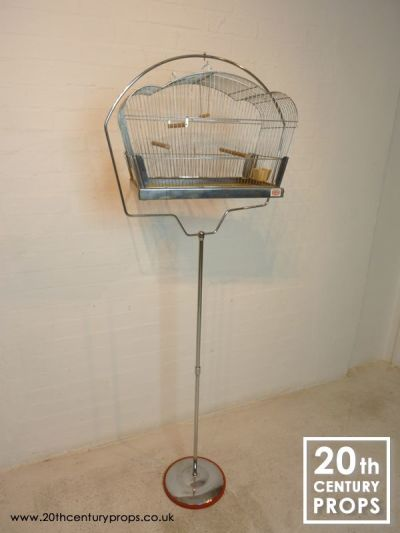 Vintage chrome bird cage on stand